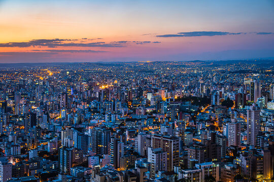 Panoramic Cityscape View During Colorful Sunset From Water Tank Lookout in Belo Horizonte, Minas Gerais State, Brazil