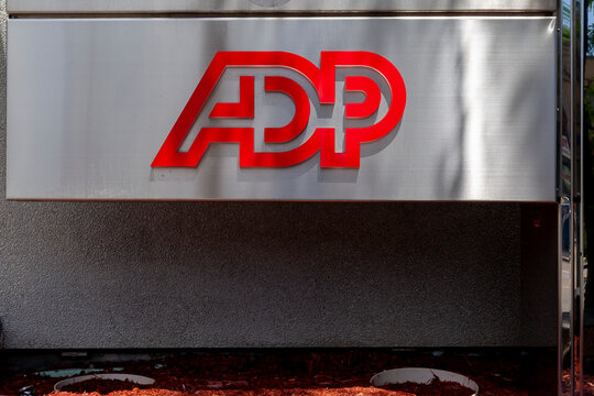 Etobicoke, Toronto, Canada - June 6, 2020: ADP Canada sign on their head office building in Toronto; Automatic Data Processing, Inc.(ADP) is an American provider of human resources management software