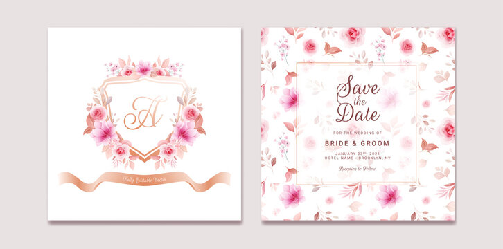 Wedding invitation template set with romantic floral crest and pattern. Roses and sakura flowers composition vector for save the date, greeting, celebration card vector