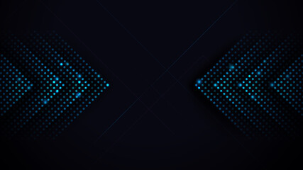Wall Mural - Arrows Light Blue Abstract Futuristic Speed on Black Background. Vector Illustration