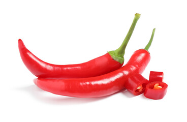 Aluminium Prints Hot chili peppers Ripe red hot chili peppers isolated on white