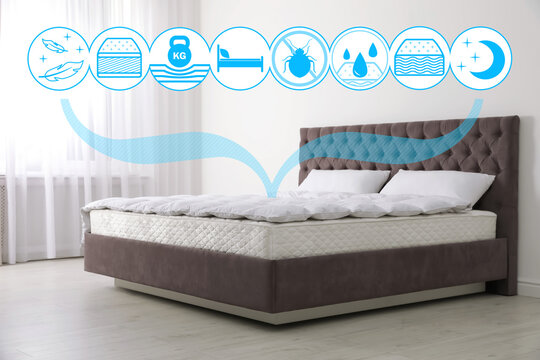 Comfortable bed with modern mattress in room