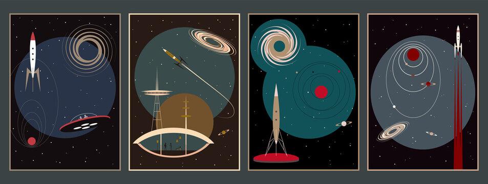 Space Poster Set, Mid Century Modern Art Retro Future Space Illustrations. Rockets, Stars, Planets