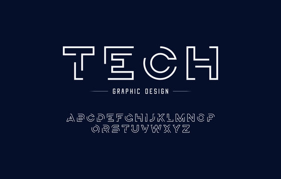 Single line monogram alphabet and technology font. Typography fonts regular uppercase and lowercase. Vector illustration.