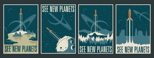 Retro Futurism Space Posters, Space Journes, Tourism, Alien Planets Landscapes, Mid Century Modern Style Rockets