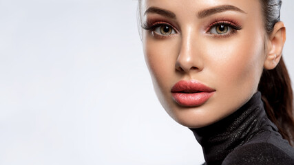 Portrait of beautiful young woman with bright pink makeup. Beautiful brunette with bright orange lipstick on her lips.