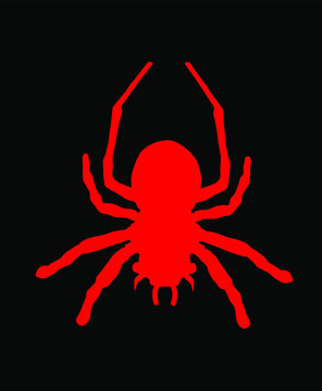 Red spider symbol. Tarantula vector silhouette isolated on black background. Arachnophobia, nightmare.