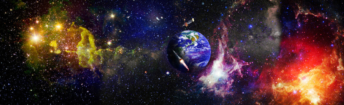 Panorama Earth in the outer space collage. Abstract wallpaper. Elements of this image furnished by NASA