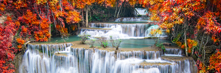 Photo Blinds Forest river Beauty in nature, beautiful waterfall flowing of water with turquoise color of water in colorful autumn forest at fall season