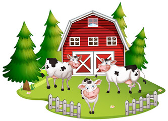 Poster Kids Isolated farm scene with cow