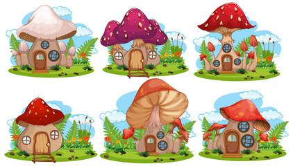 Wall Murals Kids Set of isolated mushroom fairy house