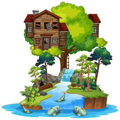 Wall Mural - Old wooden tree house on island