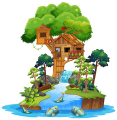 Poster Kids Old wooden tree house on island