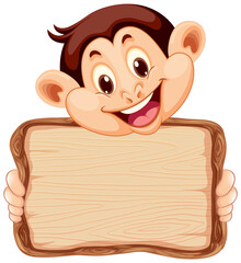 Board template with cute monkey on white background