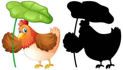 Set of chicken holding leaf and its silhouette