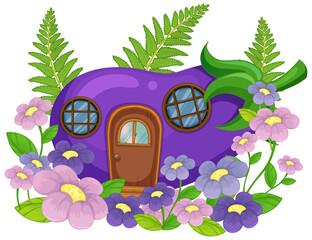 Isolated fantasy eggplant house