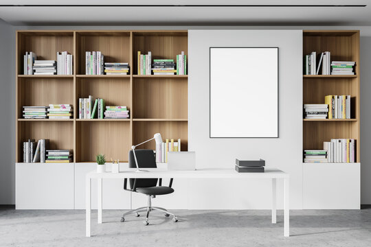 White CEO office interior with poster