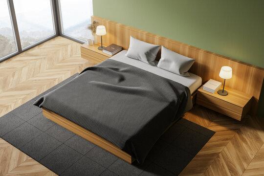 Green master bedroom, top view