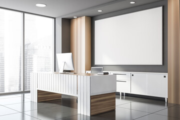 Gray and wooden CEO office corner with poster
