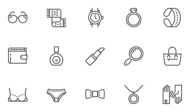 Feminine Accessories Vector Flat Line Icons Set. Jewelry, Underwear, Sunglasses, Perfume, Bag, Glove. Editable Stroke. 48x48 Pixel Perfect.