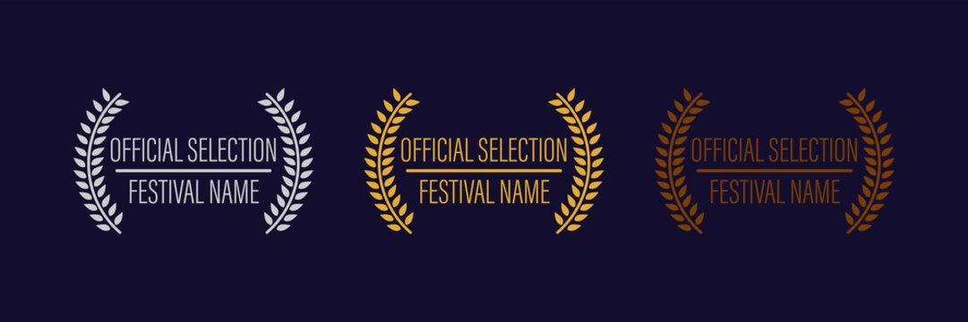 film movie award vector. laurel festival winner wreath. best cinema star icon. gold logo. celebrity branch prize. academy entertainment reel. reward emblem banner. olive palm.
