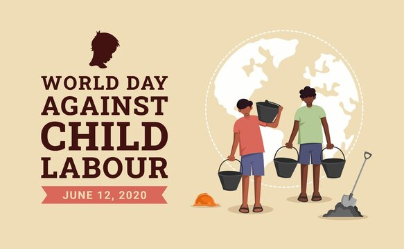 World day against child labour background with children as a worker. Flat style vector illustration concept of stop child exploitation campaign for poster and banner.