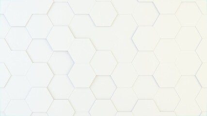 Abstract geometric background of randomly extruded big white hexagons, 3D render illustration