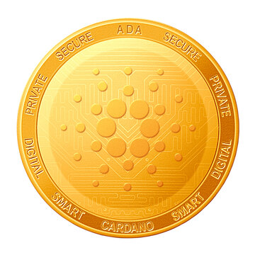Cardano coin isolated on white background; Cardano ADA cryptocurrency