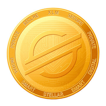 Stellar coin isolated on white background; Stellar XLM cryptocurrency