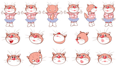Tuinposter Babykamer Vector Cartoon Characters Cat for you Design and Computer Game. Storyboard