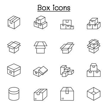 box icons set in thin line style