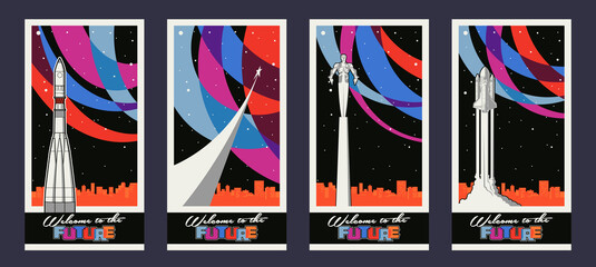 Old Soviet Space Propaganda Posters Stylization, Retro Spacecraft, Flying Man, Cityscape Silhouette; Starry Sky, Abstract Color Background
