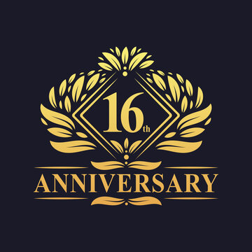 16 years Anniversary Logo, Luxury floral golden 16th anniversary logo.