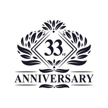 33 years Anniversary Logo, Luxury floral 33rd anniversary logo.