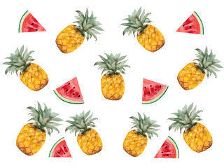 Bright picture with the image of painted fruits. Close-up, view from above, no people. Watercolor paint. Concept of delicious and healthy food