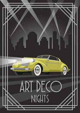 Art Deco Style Poster, Yellow Retro Car, Night City Silhouette, Art Deco Frame