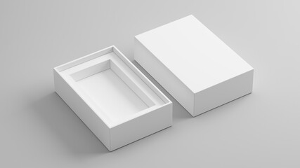 Obraz Blank open box packaging mockup isolated on grey background, Template for your design. 3d rendering. - fototapety do salonu