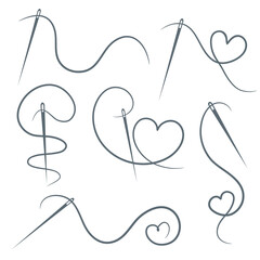 Heart with a needle thread icon for design on white, set of different form of hearts. vector illustration