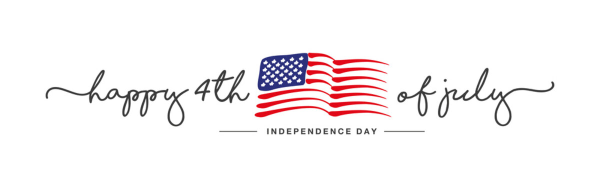 Happy 4th of july Independence day handwritten typography text USA abstract wavy flag white background banner