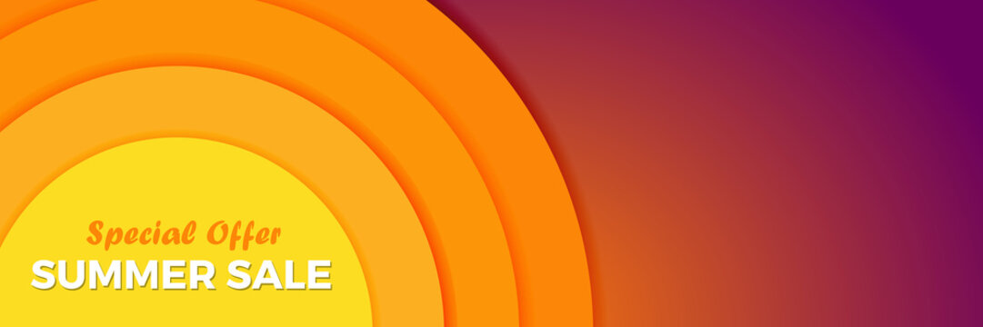 Summer sunset Vector abstract background with orange sun. Banner Design template for Brochure, Flyer or Depliant for business purposes.