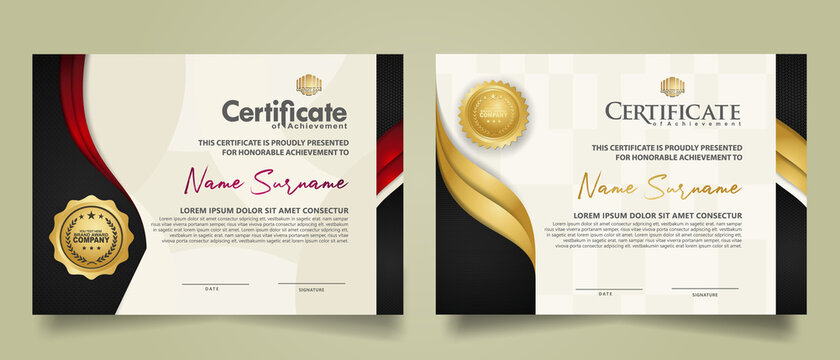 set horizontal certificate template with flow lines ornament and modern texture pattern background. Diploma. Vector illustration