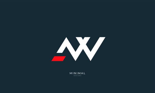Alphabet letter icon logo AW
