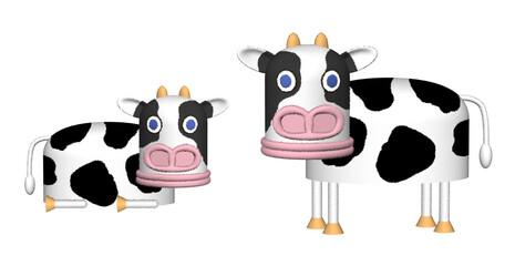 豚顔の牛キャラクターイラスト