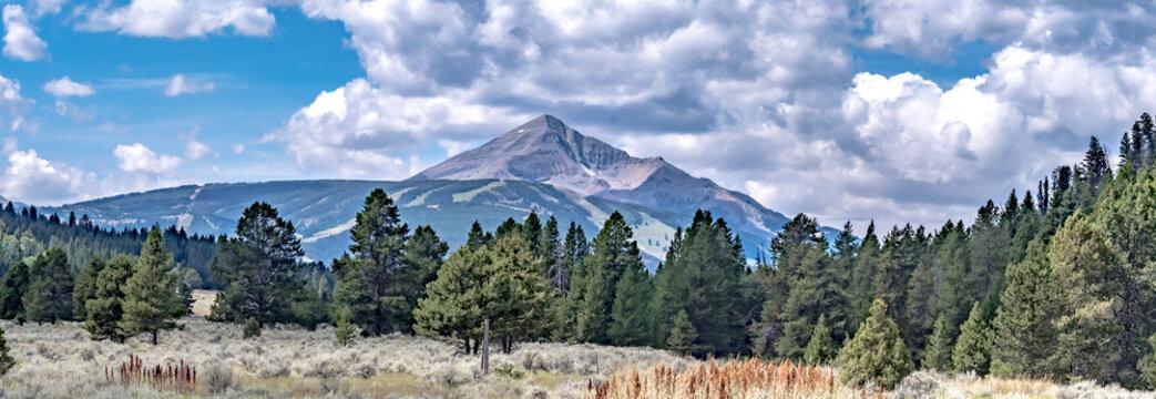 panorama of a mountain in big sky montana