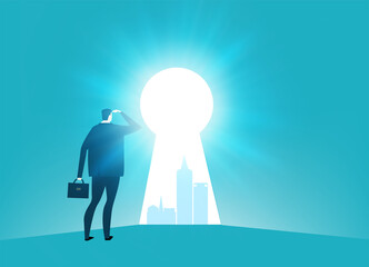 Businessman looking into the key hole with the hope for better future. Business concept illustration
