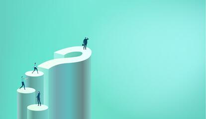 Businessman stands on big question mark. Business concept illustration Fotobehang
