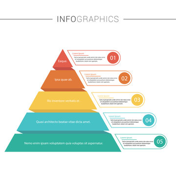 Pyramid Infographics. Funnel business pyramid with 5 charts