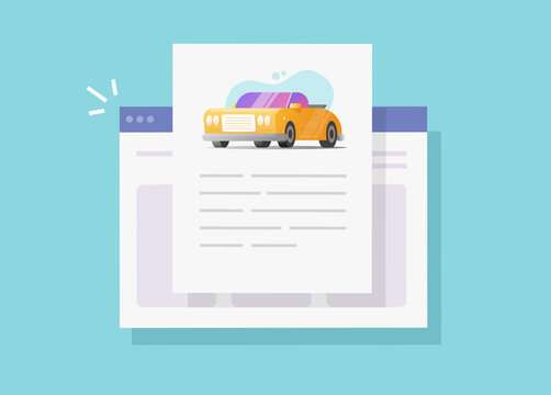Car text info and instruction document online web page or automobile history description report, concept of vehicle content creating or reading vector flat cartoon illustration modern design image