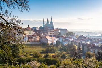 Prague Castle, St. Vitus cathedral and the UNESCO heritage site of the old city center during early morning, Czech Republic