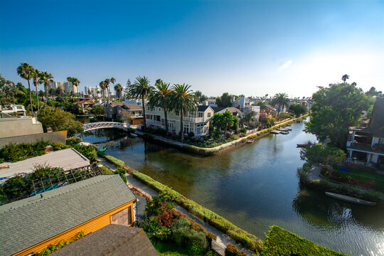 Canals in the residential area of Venice Beach, Los Angeles, CA, USA